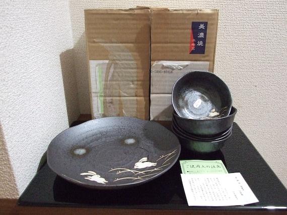 unused japanese minoyaki-ware Usagi 6 plates setpotteryrabbitceramicwashoku