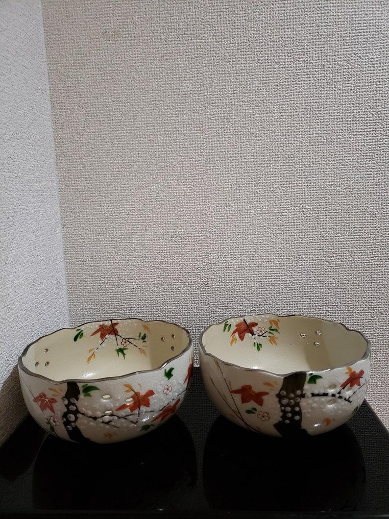Japanese unused pair of Kashikihand paintingBowlmomijiChado