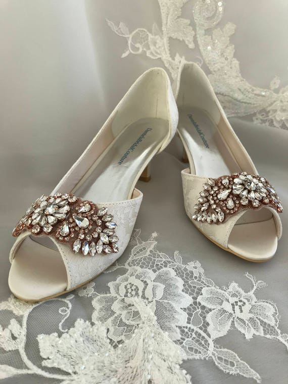 Ivory Lace Shoes For The Bride Low Heel Bridal Shoes Etsy