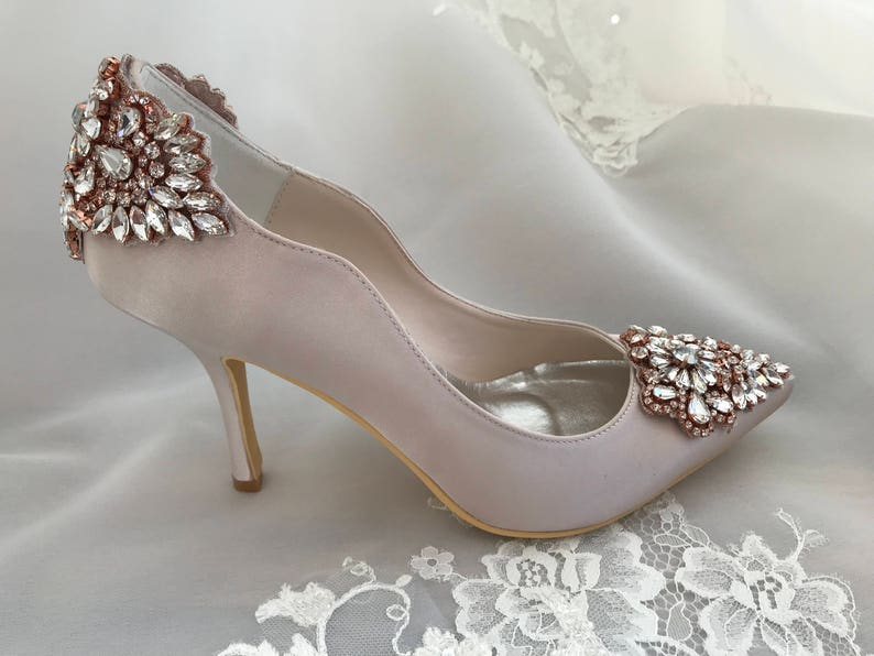 30bb82d3adfe62 Wedding shoes with rose gold color crystals and rhinestones