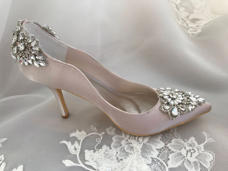 Beaded classic pump bridal shoes with crystals and image 0