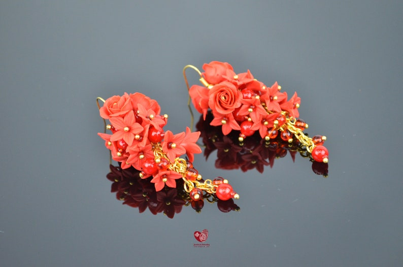 Long floral Charm Wedding boho classic Red Roses Earrings Brides flower Spring Summer jewelry gift for her Polymer Clay Jewellery