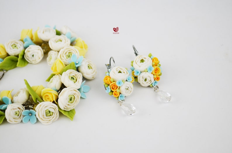Charm Flower Blue Forget-me-not Yellow Roses White Peonies Polymer Clay Earrings Bracelet Set Silver Stud Set wedding gift for her