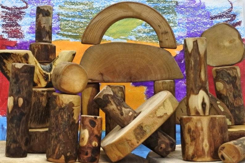 Woodblocks.  24 Handmade and handcrafted wooden blocks image 0