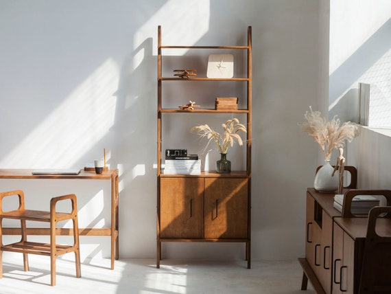 Mid Century Modern Bookcase With Cabinet Mid Century Modern Etsy