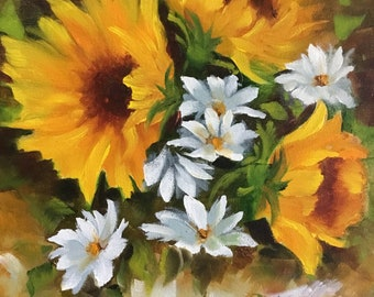Sunflowers and daises