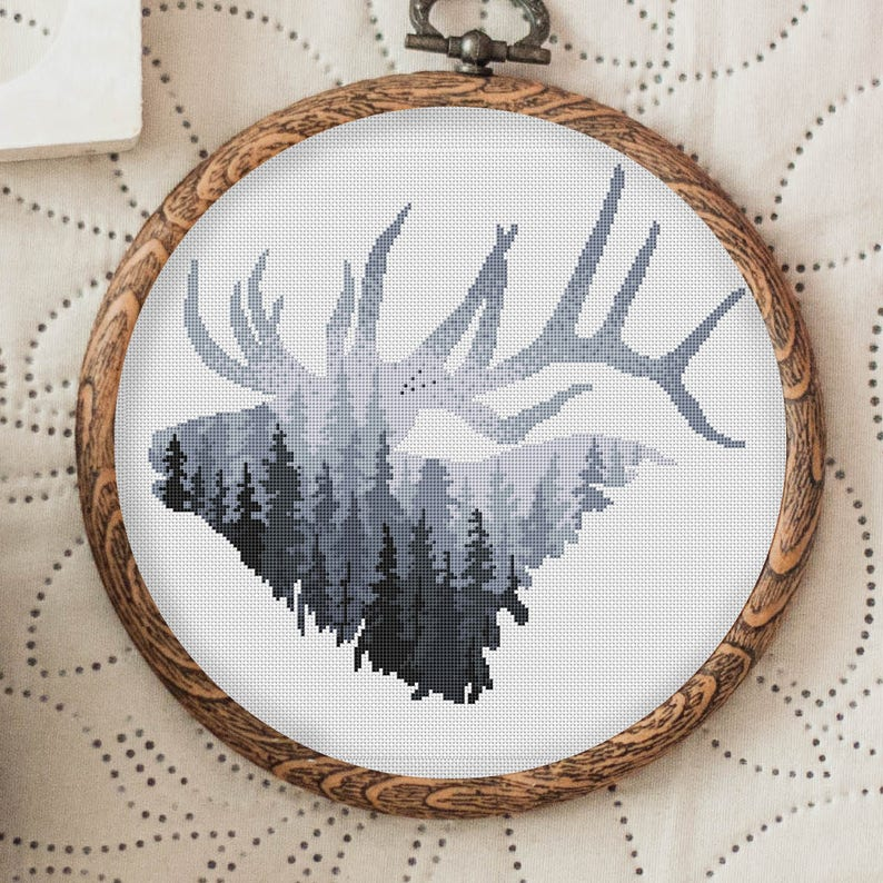 Animal Cross Stitch Pattern Elk Deer Head Cross Stitch image 0