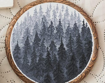 Cross Stitch Pattern Forest, Nordic Cross Stitch Patterns Modern Scandinavian Forest Cross Stitch Design Nature Embroidery Spruce Forest PDF
