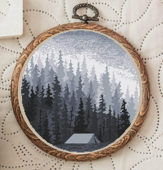 Nordic Cross Stitch Patterns Modern Forest Cross Stitch Design Nature Embroidery Green Forest N-009 Cross Stitch Pattern Landscape Forest