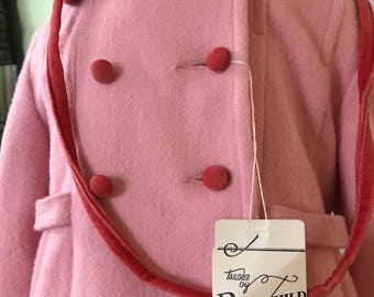 Rothschild of Philadelphia girls 3t coat. Salmon pink cashmere wool blend with coral velvet trim. Original price 75 dollars
