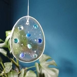 M3 Iridescent fused glass fish suncatcher 15cm x 8cm
