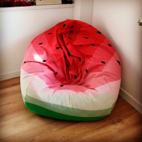 Outstanding Bean Bag Cover Fruit Print Watermelon Print Perfect Gift Pink Fun Short Links Chair Design For Home Short Linksinfo