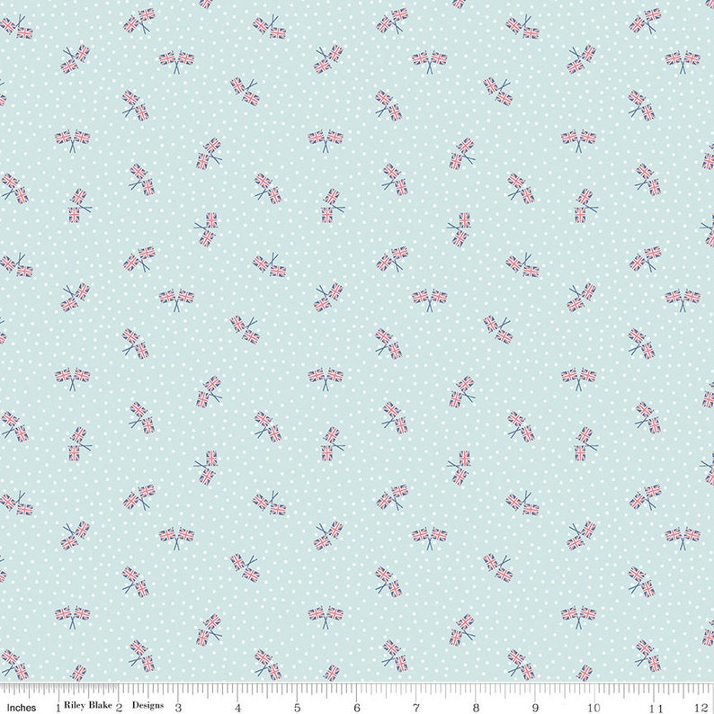 12 Yard Union Jack Aqua Notting Hill by Amy Smart for Riley Blake Designs C10206-AQUA Floral Fabric Cut Continuously
