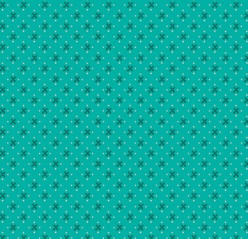 C8512-TEAL 12 Yard Granny Chic Kisses Teal by Lori Holt Bee in my Bonnet for Riley Blake Designs Cut Continuously