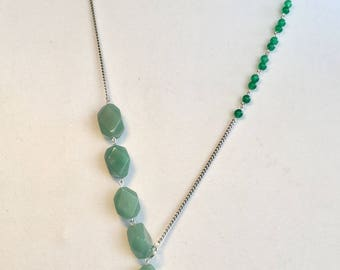 Handmade Gemstone necklace with silver chain