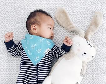 Organic Baby Bib Baby Boy Bandana Bib Paper Airplane Bib Baby Gift Drool Bib Baby Shower Gift Organic Cotton Bib
