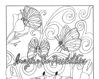 Imagine The Possibilities Inspirational Coloring Page Motivational Adult Colouring Pages Quote Printable Meditation For Adults