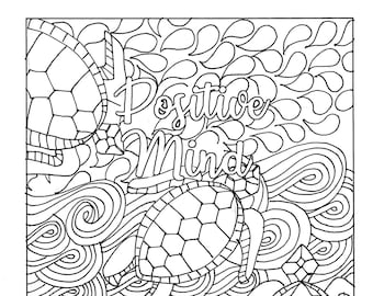 Positive Mind Vibes Quote Coloring Page Motivational Adult Colouring Pages Printable Meditation For Adults