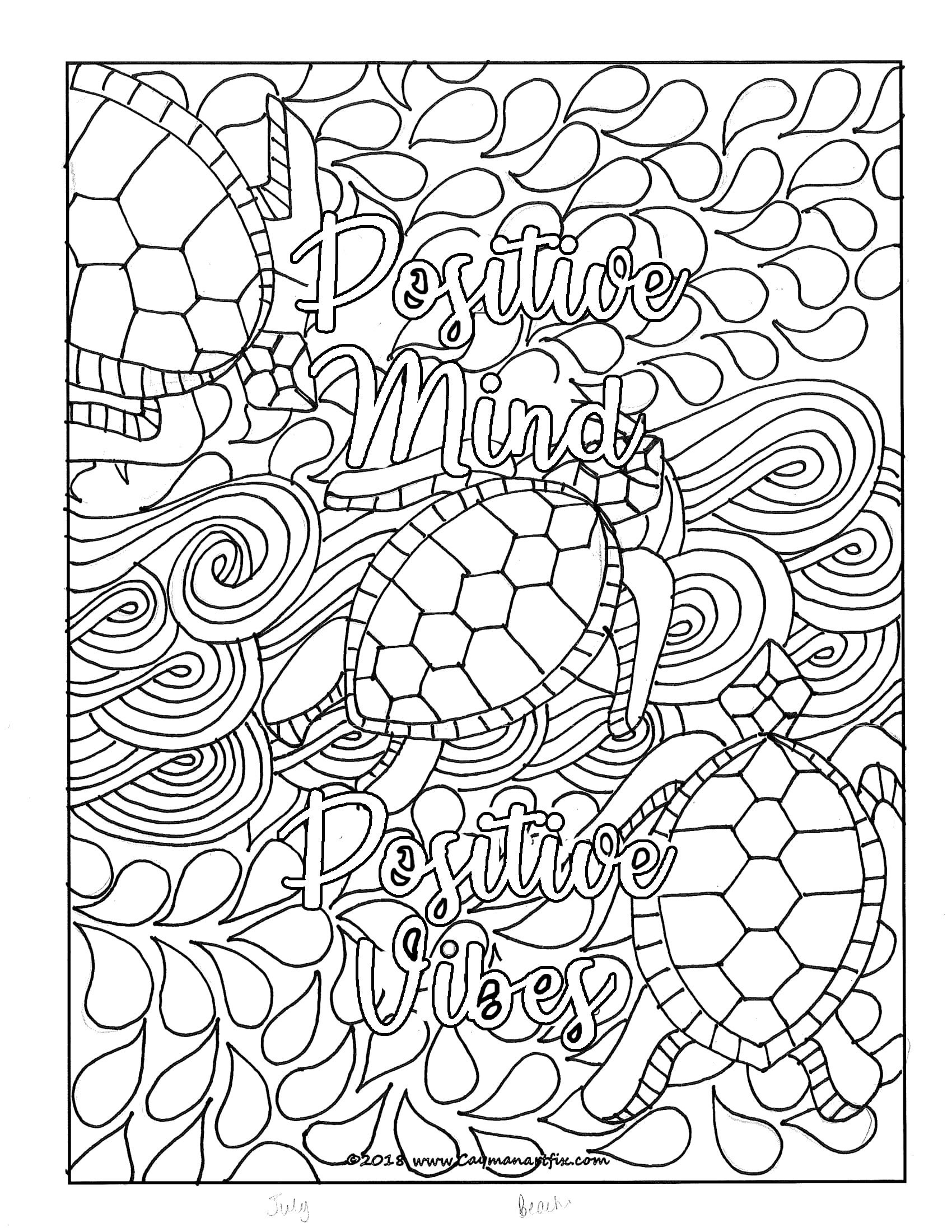 Positive Mind Positive Vibes Quote Coloring Page Etsy