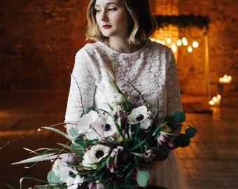 Personnalisable // Robe de Mariée Vintage - Made In France. Tulle et dentelle