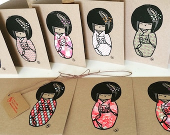 Kokeshi doll chine-collé linocut hand printed cards mixed pack of five. Original print/art/unique/relief print/artwork/birthday card.