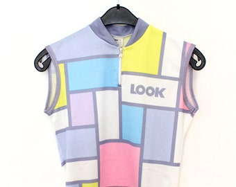Vintage Cycling shirt - blue pink Mondrian Look cycling jersey Assos - sports shirt cycle sleeveless 80s 90s retro bicycle - size L large
