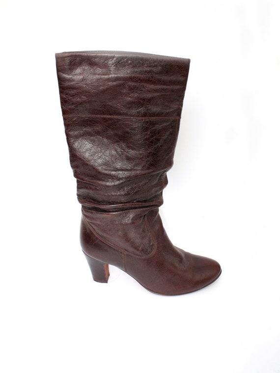 hippie 6 cuir taille boho UK Bordeaux EU bottes bottes ann 39 haute 8 des 5 US womens marron qwx0P16X