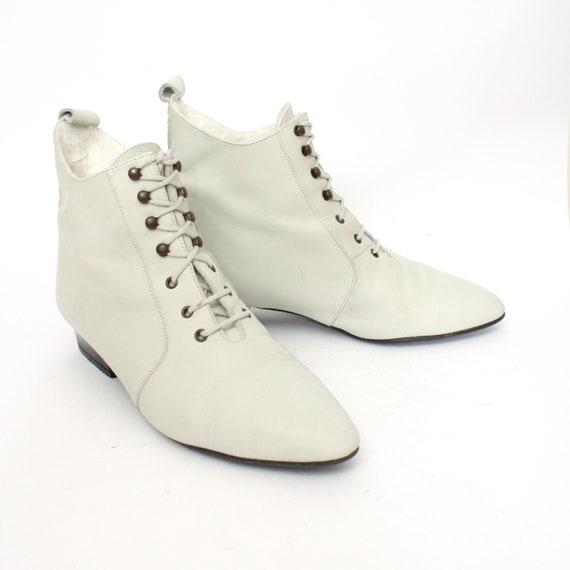 danse pointues bottines en U EU 38 5 7 cuir chaussures vintage blanc femmes danse bottines taille UK 5 de S wCRxH8xBq