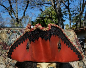 Red leather handmade pirate hat