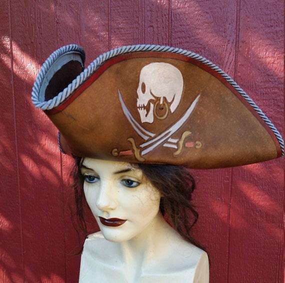 e2e44170753 Brown leather skull and crossed swords tri corner pirate hat