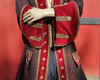 Red and black pirate coat