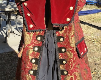 Red ,gold, and black pirate coat
