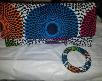 multi colored Ankara print clutch purse