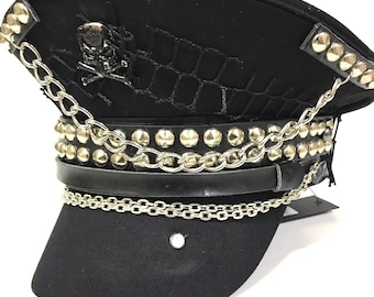 f704c11d8ac3f4 Industrial punk, Gothic black wool Military hat with black skull,studs and  chains in 57,58,59cm