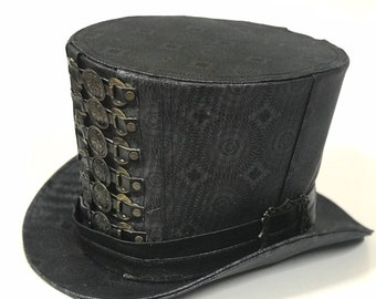 Steampunk deiselpunk kaleidoscope print Leatheret Top Hat with front  buckles details size 58 f8e868ab129b