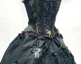 227e1c2c74cd2 Steampunk gothic 6 pcs outfit Ballroom skirt with boned corset and boned  under skirt (Hoop) in 3 sizes S M L