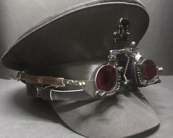 c8c9ee487bcddd Cotton Black Military Hat with Red land optical goggles and Black skull in  Size 57,58,59cm