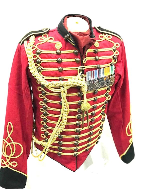 Noir Hussard Militaire Et Or Veste Homme Etsy Rouge Officier OBfZFxOq