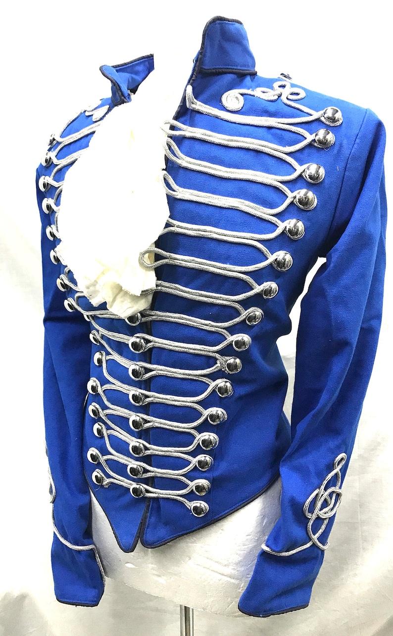Steampunk militärische zeremonielle Damen Husaren Jacke in blau mit Silber Geflecht Kontrast in fit Brustgröße 36