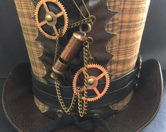 Steampunk Brown Top Hat Victorian working whistle and cogs in Size 57cm and 58cm, 59cm