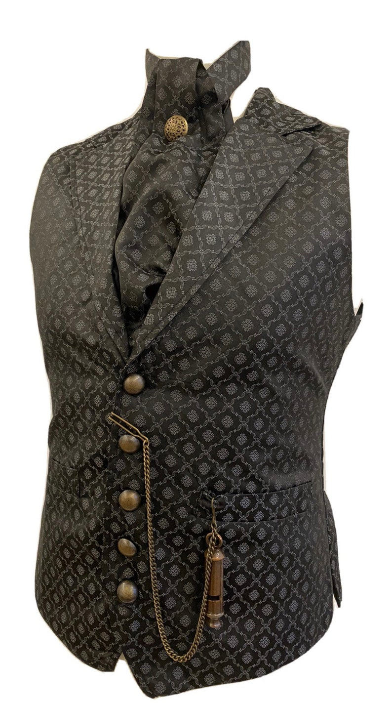 "Men's Steampunk Vests, Waistcoats, Corsets 5 pcs Steampunks Dark grey Victorian designs Waistcoat cravat  Mask brass buttons Tiepin & pocket Chain to fit Chest 40""42""44""46""  AT vintagedancer.com"