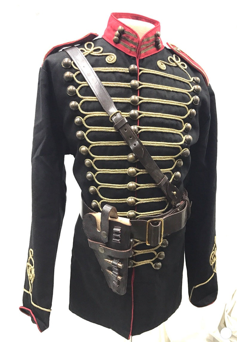 Steampunk 4 pcs Military Army Officers Antique Braiding Hussar Jacket and  Genuine leather Cross belt with Gun pouch in size 48