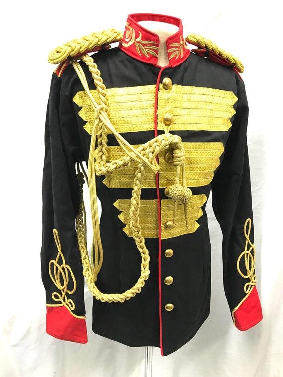 Steampunk 3 PC's militaire stijl Gold Bullion linten Hussar jas voor mannen met gold Bullion snoer doornhaai & schouder Epaulettes in maat M