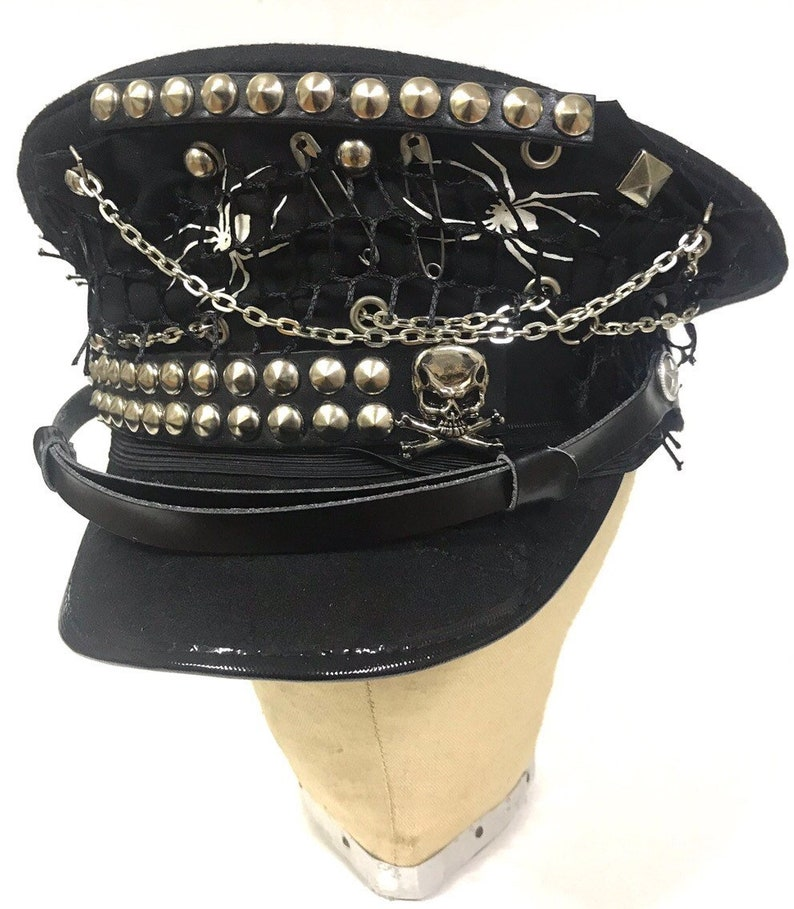 c740239ec Industrial punk, Gothic black Military hat with black and white badges  ,studs 57,58,59cm