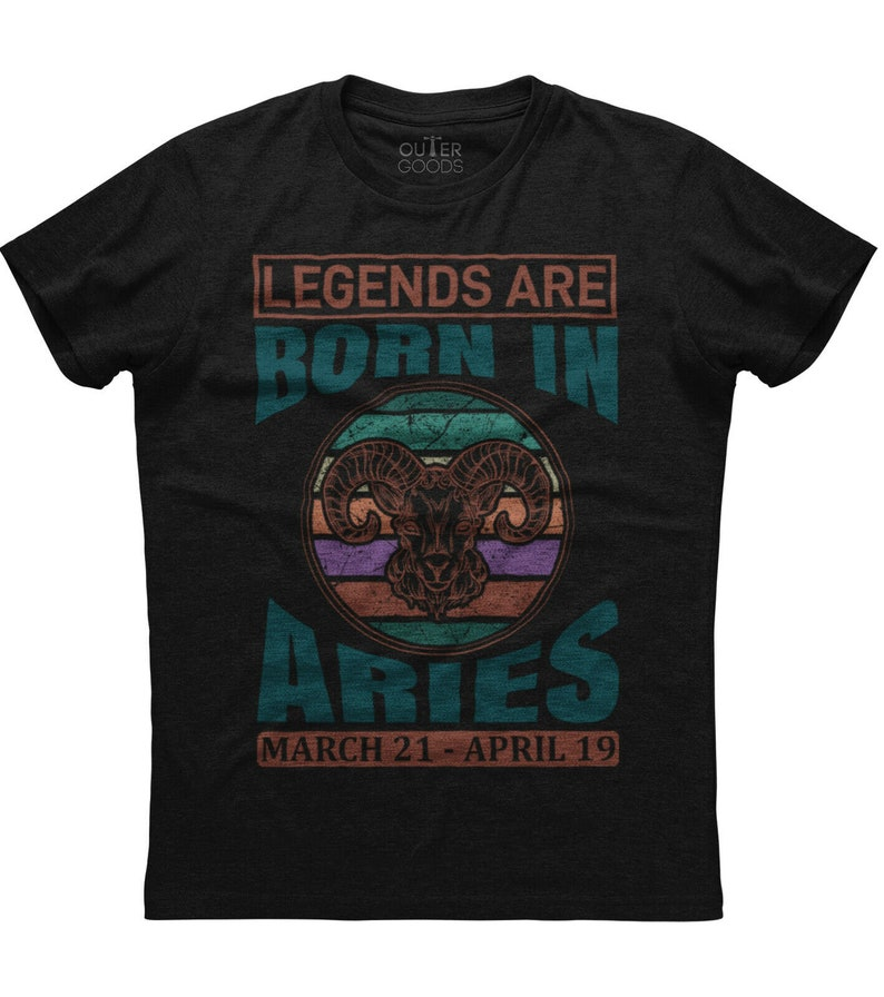 Legends Are Born In Aries Mens Short Sleeve New Cotton Black T-shirt