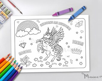 Unicorn Coloring Placemat Party Birthday Color Sheet Colouring Games Unvitation Paint