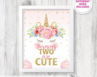 2nd Birthday Unicorn Sign Party Poster Second Bday Invitation Decor Props Turning Two