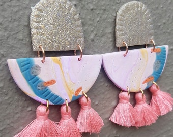 Wild at Art - Handmade Earrings- Lilac, Pink, Teal, Orange, Mustard and White Gold polymer stud with tassels!