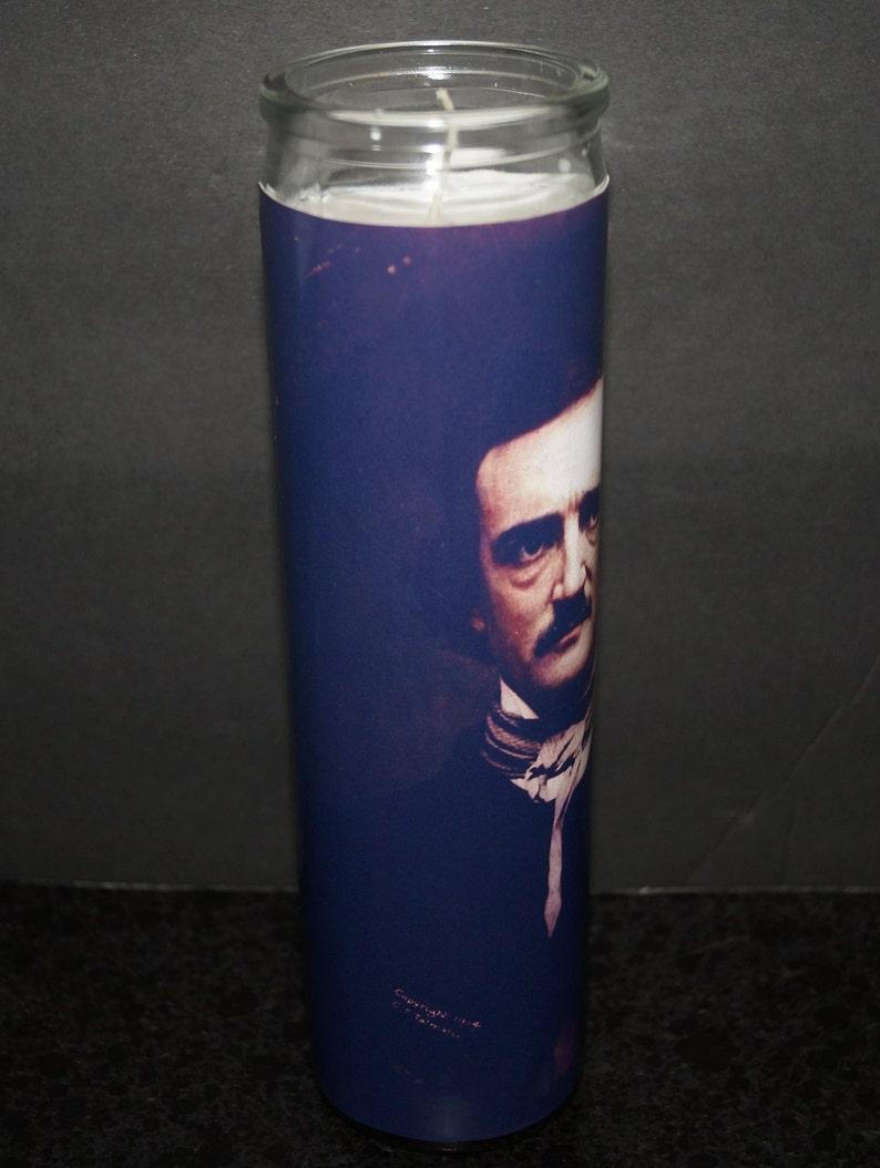 EDGAR ALLAN POE Prayer Memorial Altar Church Candle 7 Day American Author Horror Icon Lumiere Veladora Gothic Raven Allen Sanctuary