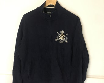 Vintage 90 s Retro Polo Ralph Lauren College crest sweater jacket 7efa42d71d8
